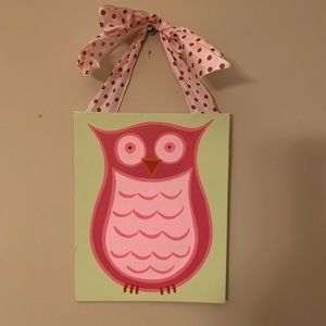 GORGEOUS painted pink owl wall hanging